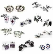 Cufflinks Mens Silver Novelty Scottish Thistle, Rugby, Skull Christmas Gift Box