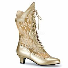 Funtasma by Pleaser DAME-115 Victorian Ankle Boot Pioneer Lace Women's Gold Lace