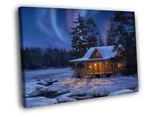 Evening Country House Winter Aurora Snow Painting WALL FRAMED CANVAS PRINT