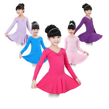 3-14Y Toddler Kid Girls Ballet Gymnastics Dance Leotard Dress Dancewear Costume