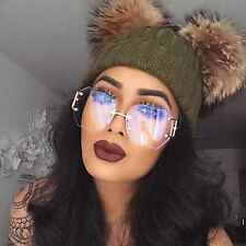 Women Oversized Rimless Sunglasses Clear and Gradient Lens Metal Frame Retro