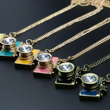 Vintage Camera Rhinestone Necklace pendant Golden Plated sweater chain Jewelry