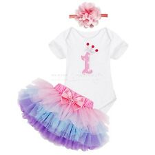 Baby Girls First Birthday Romper Tutu Skirt Birthday Party Dress Costume Outfit