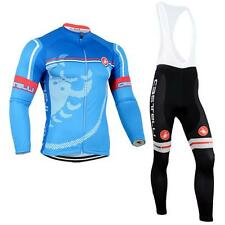 Winter !Thermal Fleece Long Sleeve Cycling Jersey Bib Pant Cycling clothes Blue