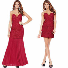 Forever Unique Rose Lace 2 in 1 Short Long Dress Red Evening Prom Gown All Sizes
