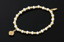 Sarulo White Freshwater Pearls 24k Gold Plated 925 Sterling Silver Bracelet New