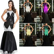 Sequin Applique Evening Party Mermaid Dress Celebrity Backless Cute Summer Stage