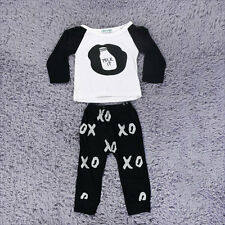 New Toddler Baby Outfits Clothes Feeding Bottle Pattern Tops+Pants 2PCS Set F7