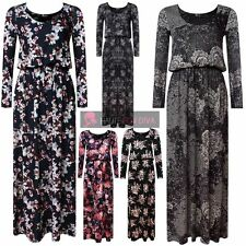 LADIES LACE ROSE PRINT U-NECK LONG SLEEVE TOGA BALLOON MAXI DRESS UK 8-26