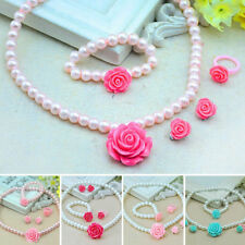 Kids Girls Child Pearl Flower Shape Jewelry Necklace Bracelet Ring Ear Set