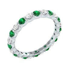 Natural Round Green Emerald & White Topaz 14k Solid Gold Full-Eternity Band