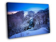 Snow Winter Waterfall Forest River Beautiful FRAMED CANVAS WALL PRINT