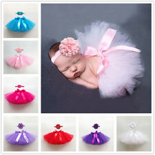 Newborn Baby Girl Tulle Tutu Skirt  Headband Outfit Photo Prop Princess Coustume