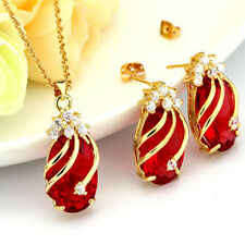 18K Gold Plated Muiticolor Crystal Water Drop Jewelry Set Necklace + Earring New