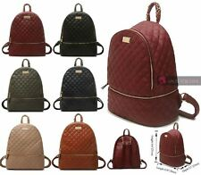 LADIES COLLEGE BAG QUILTED FAUX LEATHER CHAIN DETAIL DOUBLE ZIP BACKPACK