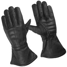 Mens Unlined Guantlet Motorcycle Gloves Water Resistance Leather Padded Palm