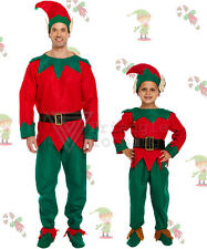 Childrens Adults Christmas Elf Costume Fancy Dress Santa Helper Suit Full Outfit
