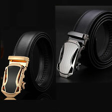 Men Automatic Alloy Waistband Genuine Leather Buckle Black Belt Waist Strap Belt
