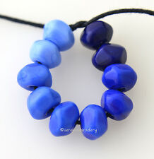 BLUE OMBRE NUGGETS * Handmade Lampwork Glass Beads TANERES sra - tiny rocks