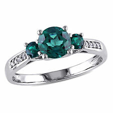 Amour 10k White Gold Created Emerald Diamond Accent Ring