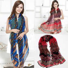 New Retro Women Girls Long Bohemian Voile Soft Scarf Large Shawl Scarves V38