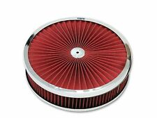 "14"" x 3"" Chrome Trimmed Washable Filter Flow Air Cleaner Fits Holley Edelbrock"