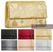 NEW LADIES CHAIN STRAP FAUX LEATHER CROC SNAKESKIN EVENING PROM CLUTCH BAG