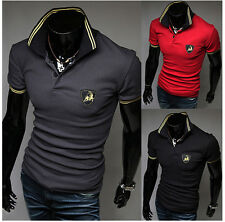 Fashion Polo Shirt Men's Stylish Casual Slim Fit Short Sleeve T-shirts Tee Shirt