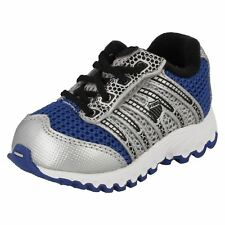 Boys TUBES RUN 100 Blue,Black,Silver leather/mesh trainer by K SWISS