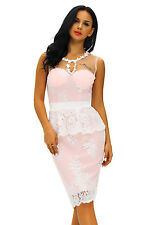 Women Floral Lace Crochet Nude Illusion Pink Peplum Dress Stage Dance Brief Cute
