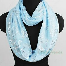 Fashion Womens Rose Sequin Infinity Circle Loop Scarf Summer Soft Ladies Scarves