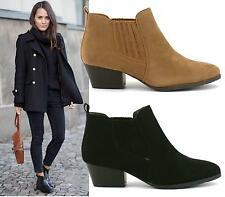 Ladies Black Camel Suede Flat Low Heel Pull On Stretch Chelsea Ankle Boots Shoes