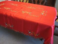 Christmas Holiday Embroidered Tablecloth with Napkins Red