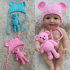 Cute Newborn Baby Boy Girl Crochet Knit Hat +Bear Doll Outfit Costume Photo Prop