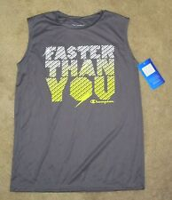 "NWT Boys CHAMPION "" Faster Than You "" Silky Gray Sleeveless Shirt - size L"