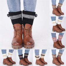 Women Winter Boot Toppers Cuffs Leg Warmer Crochet Knitted Leggings Boot Sock g4