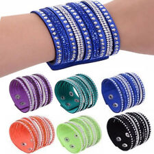 Women Leather Wrap Wristband Cuff Punk Crystal Rhinestone Bracelet Bangle USShip