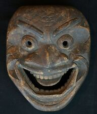 Antique Japanese folklore wood mask hand carved Keyaki 1800 Edo art Japan