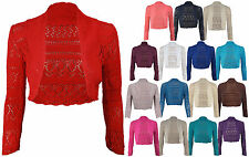 Ladies Long Sleeve Crochet Bolero Shrug Womens Cropped Knitted Cardigan Tops