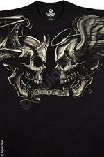 FANTASY-GOOD & EVIL-ANGEL-DEVIL-SKULL-SKULLS-TSHIRT S-M-L-XL-XXL