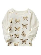 baby Gap Girls Toddler Gold Tusk Butterfly Long Sleeve Tee Cotton 12-24M 2-5 yrs