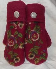 Women's Recycled Felted Wool Mittens Maroon with Embroider Flowers