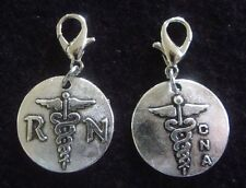 Nurse Charm Nurse Charm Dangle Zipper Pull RN Charm Antique Silver CNA Charm