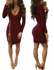 Women Long Sleeve Bodycon Party Cocktail Dress Sexy Hollow Clubwear Mini Dresses