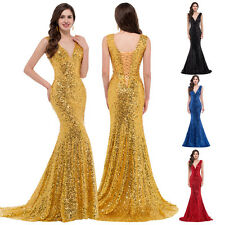 Sparkly Sequin Evening Party Ball Gown Cocktail Wedding Prom Dress Gold Black 16