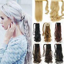 100% Real Thick Clip In Human Hair Extensions Pony Tail Ponytail Synthetic Hair