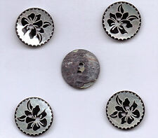 SHELL BUTTONS - 2 HOLE - 4 SIZES - X 5 BUTTONS-