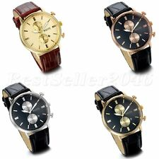 Casual Mens Calendar Date Dial Quartz Leather Strap Sport Analog Wrist Watch New