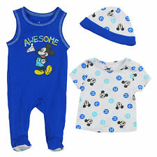 "Disney Mickey Mouse Newborn Infants ""Awesome"" 3 Piece Footie Set with Hat"