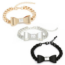Cute Bow Tie and Czech Stone Point Chain Bracelet Made in Korea